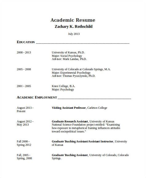 Academic Resume by 22 Exles Of Writing Templates Exles