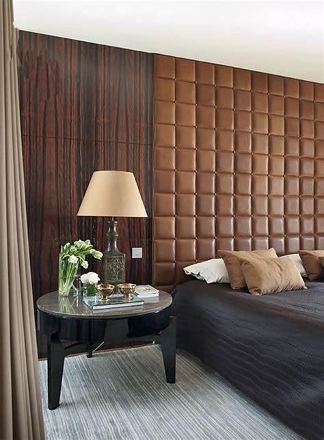 modern asian wood paneling ochre leather upholstered