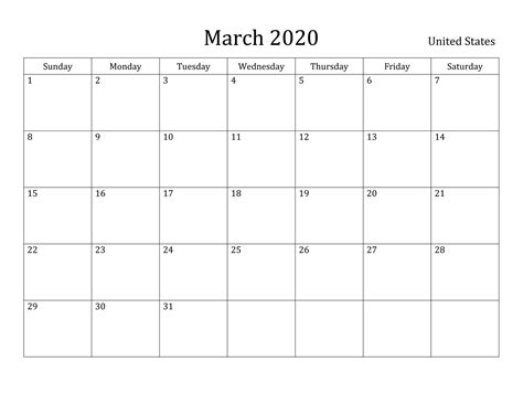 march  printable calendar blank templates