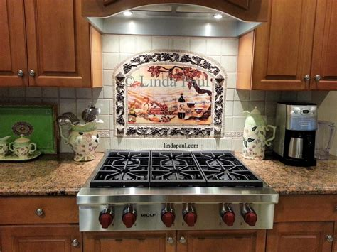 mosaic tile backsplash kitchen ideas the vineyard tile murals tuscan wine tiles kitchen