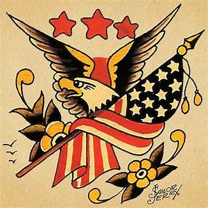 Traditional American Eagle With Flag And Flowers Tattoo Design