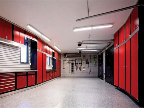 Black ceiling red walls, garage cabinet design ideas