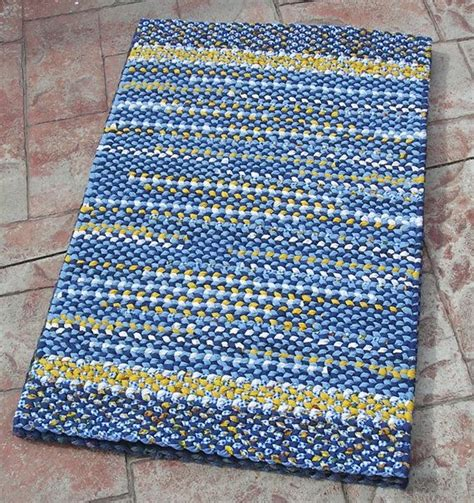yellow kitchen floor mats handmade twined rug blue yellow and white woven cotton 1692
