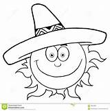 Sun Sombrero Hat Smiling Outline Drawing Happy Clip Outlined Mexican Wearing Cartoon Clipart Coloring Vector Characters Character Royalty Weather Illustration sketch template