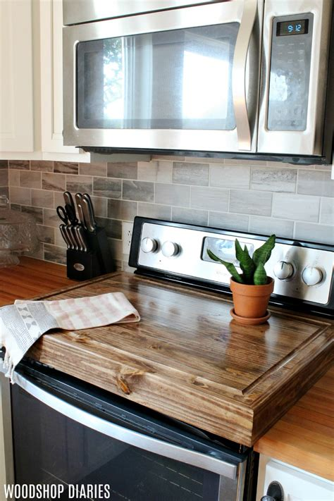 diy wooden stove top cover  add  counter space   kitchen