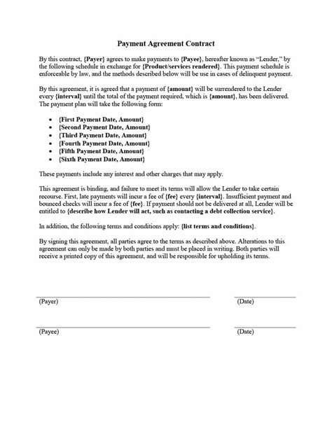 Contract Template by Payment Agreement 40 Templates Contracts Template Lab