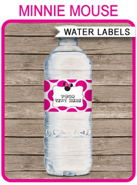 minnie mouse party water bottle labels minnie mouse theme