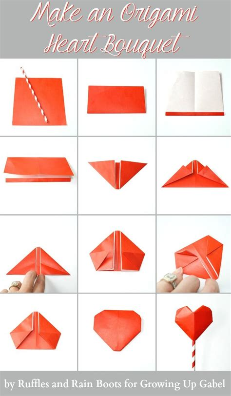 origami bouquet  garland instructions paper hearts