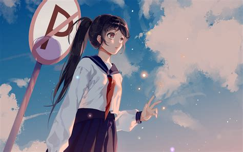 bc girl school girl anime sky cloud star art