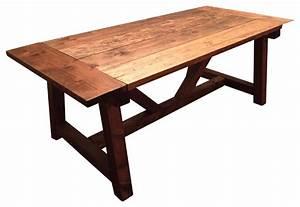 Trestle Farmhouse Table With Breadboards - Farmhouse