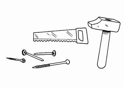 Coloring Nails Hammer Designlooter Saw