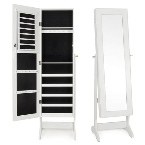 White Mirrored Jewelry Cabinet Armoire by White Wood Glass Mirrored Jewelry Armoire Cabinet Stand