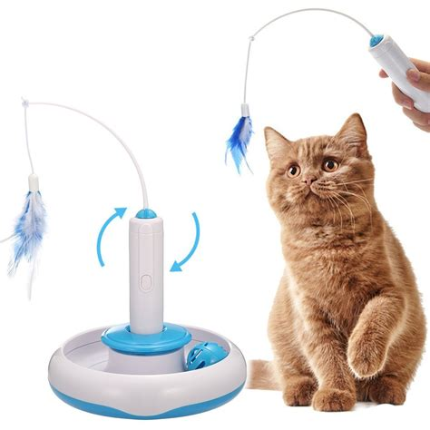 cat interactive toys electric rotate feather toys spinning