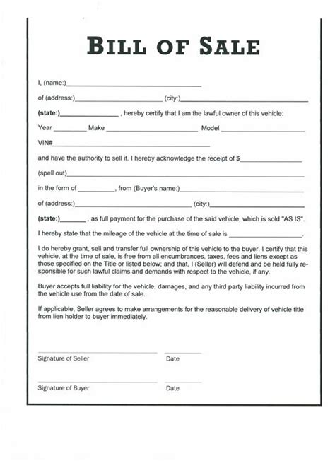 Blank Boat Bill Of Sale Georgia by Free Auto Bill Of Sale Printable Template Motor