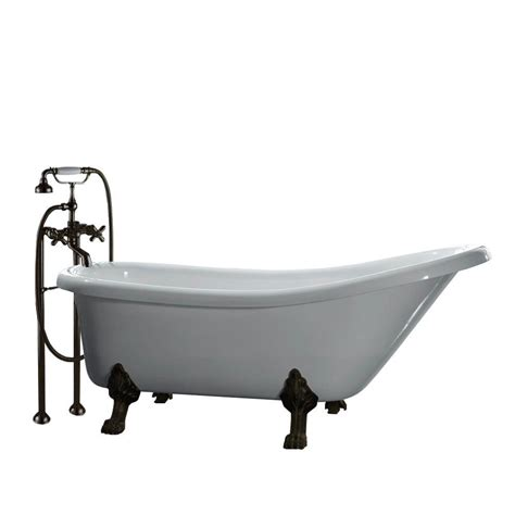 clawfoot tub home depot ove decors 5 5 ft acrylic claw foot slipper tub in white