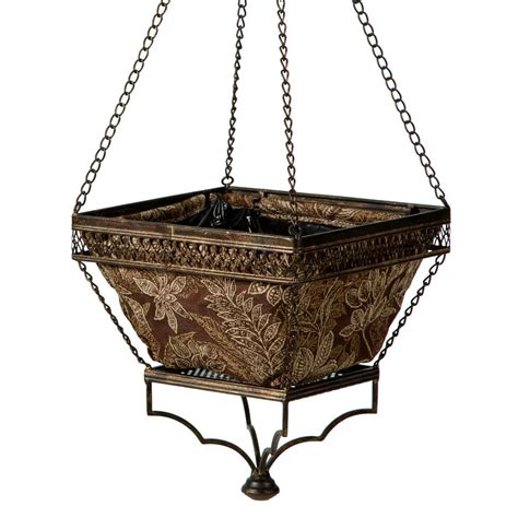 home depot hanging ls bombay outdoors black chloe hanging planter with espresso