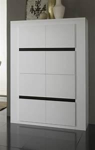 Armoire Noir Et Blanc : vaisselier argentier portes pleines laqu blanc et noir adriana vaisselier et argentier ~ Preciouscoupons.com Idées de Décoration