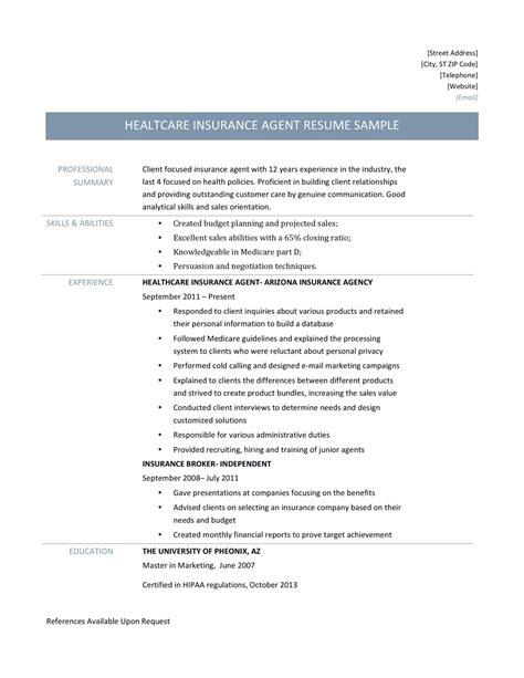 Health Insurance Agent Resume Samples and Job Description ...