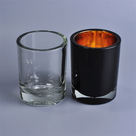 black glass candle holder unique thick wall black spray color votive glass candle