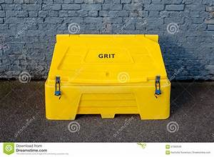Grit Bin Against A Brick Wall Stock Photo - Image: 67062646