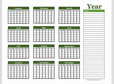 Yearly Blank Calendar with Holidays Free Printable Templates