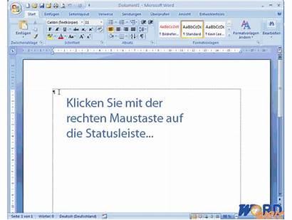 Word Statusleiste 2007 Statuszeile Sie Draufklicken Indem