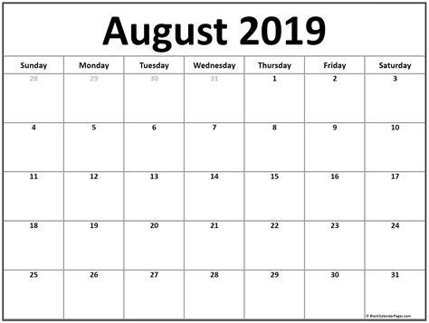 august calendar printable monthly calendars