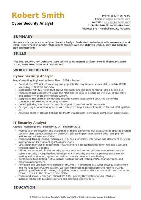Cyber Security Resume by Cyber Security Analyst Resume Sles Qwikresume