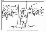 Draw Playing Drawing Children Seek Hide Step Drawings Tutorials Weekly Paintingvalley sketch template