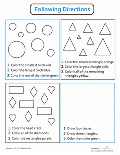 directions coloring worksheet educationcom