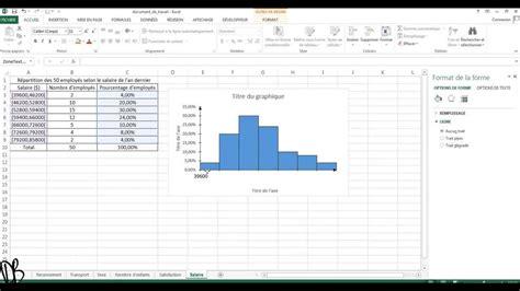 histogramme excel quantitative avec continue variable