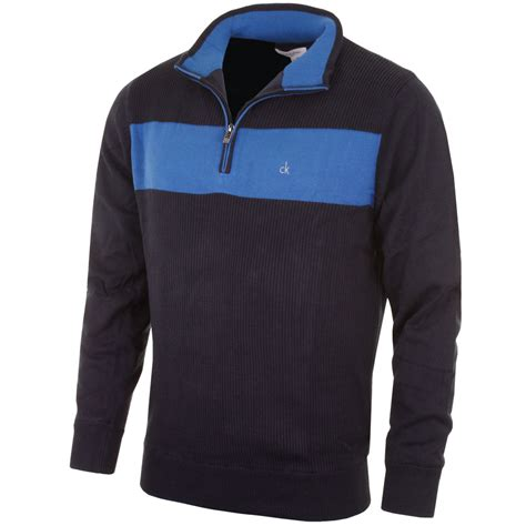 mens half zip sweater calvin klein golf 2015 mens ribbed lined half zip sweater