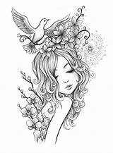 Coloring Fairy Pages Adults sketch template