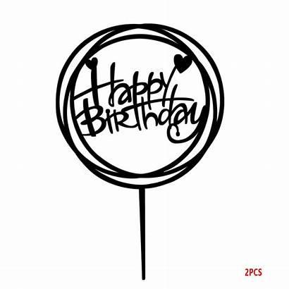 Birthday Happy Topper Cake Round Cupcake Diy