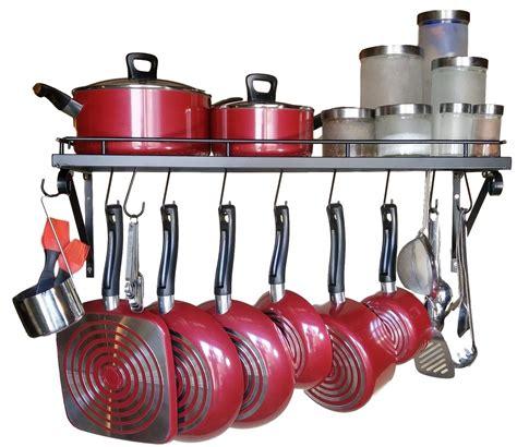 pot wall kitchen rack pots pans mounted hooks holder shelves storage holders pan organizer pack racks cookware amazon presents premium