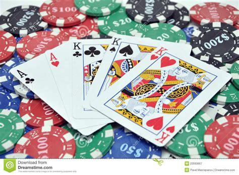 poker chips full house cards royalty  stock
