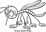 Mosquito Coloring Insect Character Cartoon Pages Funny Illustration Vector Drawing Clipart Soon Drawings Alphabet Canstockphoto sketch template