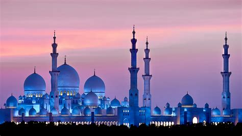 mosque abu dhabi zayed sheikh 4k sunset sky wallpapers architecture 2k