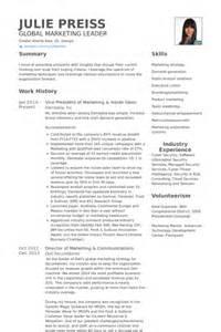 vice president of sales resume exle vice president of marketing resume sles visualcv