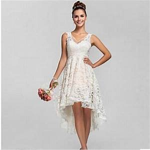 2016 summer high low lace beach wedding dresses plus size With cheap plus size beach wedding dresses