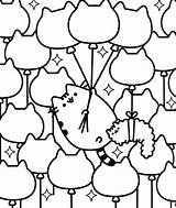 Pusheen Coloring Pages Cat Balloon Kitties sketch template