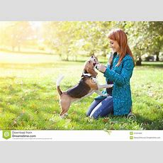 Girl Playing With Her Dog In Autumn Park Stock Photo