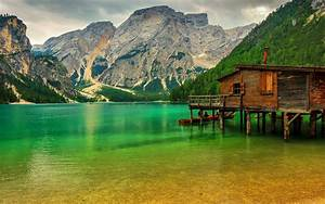 Alps Mountains Lake House Forest Bridge Wallpaper Hd