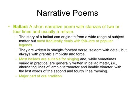 examples  narrative poems