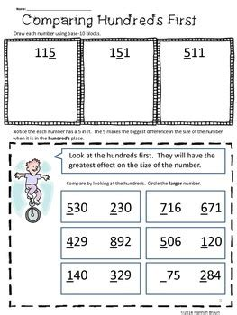 comparing numbers activities   grade