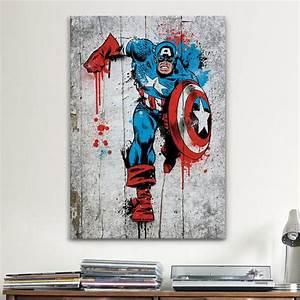 icanvas marvel comic book captain america spray paint With marvel wall art