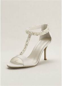 pearl and crystal t strap sandal david39s bridal With wedding dress sandals