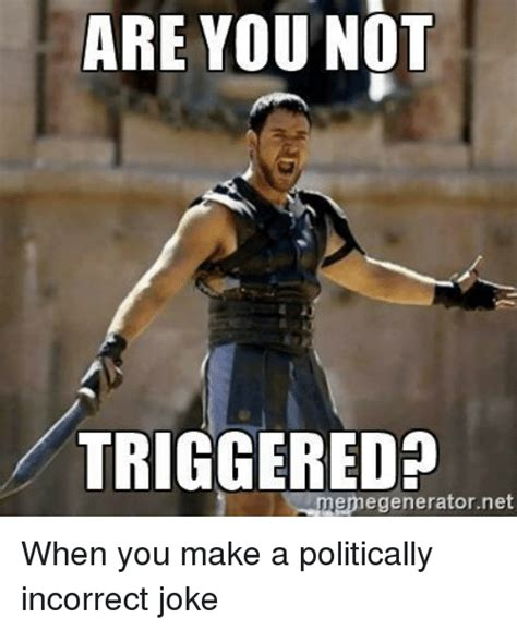 Politically Incorrect Memes - are you not triggered memegeneratornet funny meme on sizzle