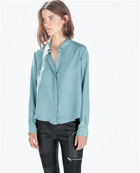 collar blouse zara silk blousen with shirt collar in green lyst