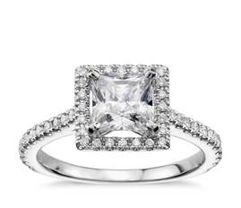 princess cut blue engagement rings princess cut floating halo engagement ring in 14k white gold 1 5 ct tw blue nile